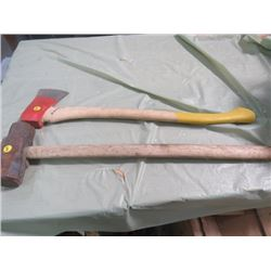 LOT INCLUDING AXE AND SLEDGE HAMMER (8LB)