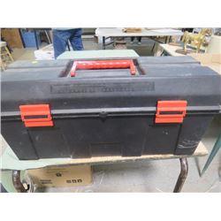 TOOL BOX AND CONTENTS (SOCKETS, RATCHET, ASSORTED TOOLS, ETC…)