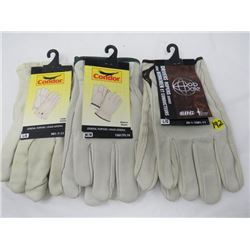 LOT OF 3 PAIRS OF LEATHER GLOVES (2-LARGE, 1-MED) *LEATHER*