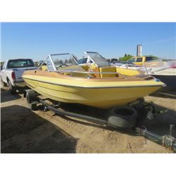 "16 FOOT BOAT, MOTOR AND TRAILER (GLASTRON, OPEN FRONT) *140 HP MERC CRUISER-SOLD ""AS IS""*"