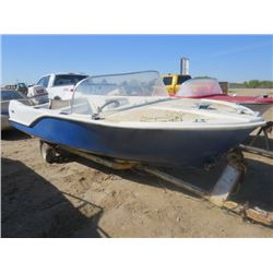 "BOAT, MOTOR AND TRAILER ( JOHNSON 40 HP) *12 FOOT FIBREGLASS-SOLD""AS IS""*"