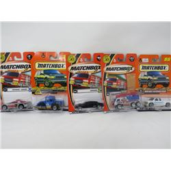 LOT OF 5 MATCHBOX VEHICLES (CHEVROLET CAMARO, ROAD ROLLER, LIMOUSINE, AERO FLOODER, 1999 CHEVY SILVE