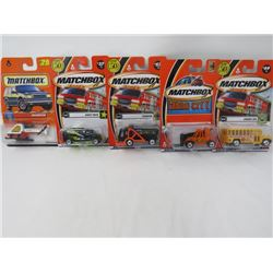 LOT OF 5 MATCHBOX VEHICLES (HELICOPTER, GARBAGE, STUDENT BUS, ROBOT TRUCK, FORK LIFT)