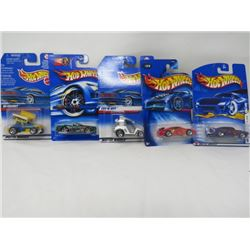 LOT OF 5 HOTWHEEEL VEHICLES (SLIDEOUT, TEE'D OFF, JADED, JAGUAR, XK8, FERRARI HEAT 2/5)