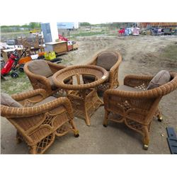 WICKER OUTDOOR PATIO SET (4 CHAIRS, TABLE AND CUSHIONS) *NO GLASS FOR TABLE TOP*