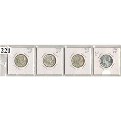 LOT OF 4 CANADIAN SILVER QUARTERS (1938-1939-1943-1944)  *HIGHER GRADE*