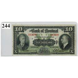 $10 BANKNOTE ( BANK OF MONTREAL)  *1938, SER. # 162609*