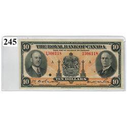 $10 BANKNOTE  (ROYAL BANK OF CANADA) *1935, SER. # 1306118*