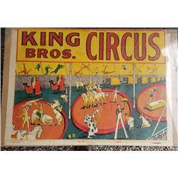"""KING BROS CIRCUS POSTER (VINTAGE) *1953* (28"""" X 20"""")"""