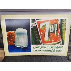 "7-UP ADVERTISING (SELF FRAMED ON CARDBOARD) *36"" X 24""*"