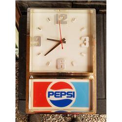 PEPSI COLA CLOCK (VINTAGE) *PLUG IN MISSING*
