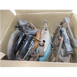 LOT OF ASSORTED IRONS (HANDLES ETC…)
