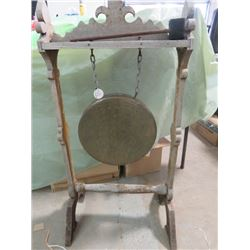 """ANTIQUE GONG (CAME FROM OLD LOGGING CAMP IN NORTHERN MANITOBA) *42"""" TALL WITH STAND*"""