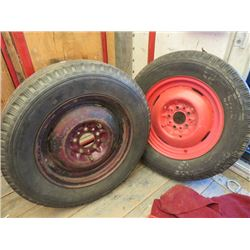 LOT OF 2 TIRES WITH WHEELS (ANTIQUE)