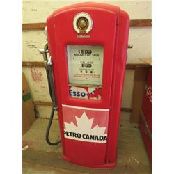 """GAS PUMP (BENNETT) *ANTIQUE* ( 57"""" TALL, CIRCA 1940S-50S) *PLEASE NOTE: BIDS WILL START AT $250 AND"""