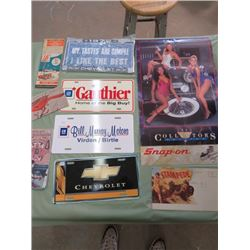 LOT INCLUDING 4 ASSORTED MAPS, 1988 SNAP ON CALENDAR AND 4 LICENCE PLATE PROMOS
