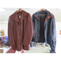 """LOT OF 2 LEATHER JACKETS (RETRO) *BLACK-40"""" WAIST, 26"""" SLEEVES, 25"""" SHOULDERS-BROWN-48"""" WAIST, 25"""" S"""
