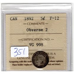 1892 FIVE CENTS OBVERSE 2 ICCS CERTIFIED