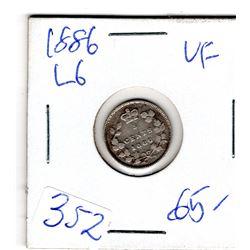 1886 LARGE 6 FIVE CENT