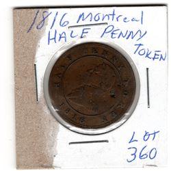 1816 MONTREAL HALF PENNY TOKEN
