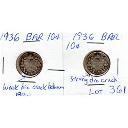 1936 BAR DIE CRACK DIMES TWO DIFFERENT STAGES