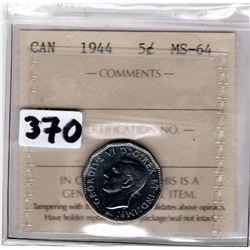 WARTIME ERA 1944 VICTORY NICKLE CERTIFIED