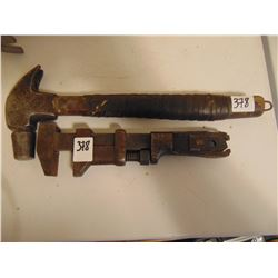 COES WRENCH AND ANTIQUE CLAW HAMMER