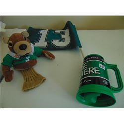 13TH MAN ROUGHRIDER CUP/FLAG AND GAINER GOPHER PUPPET