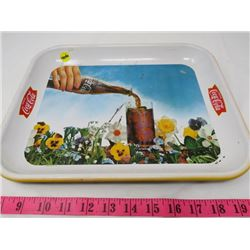 """COCA-COLA """"CUP OF POP AND FLOWERS"""" TRAY"""