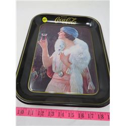 """COCA-COLA """"LADY HOLDING GLASS UP"""" TRAY"""
