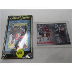 2 HOCKEY CARDS IN FRAME (ALEXI YUSHIN TOPPS CARD, ROAD TO THE CUP, ROUND 2 GAME 4 REDWINGS VS SHARKS