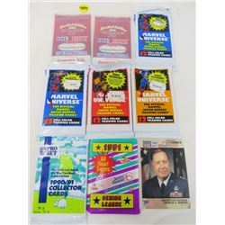 LOT OF 8 SEALED SPORT CARDS AND 11 LOOSE CARDS (PREMIER EDITION, CURLING CARDS, DESERT STORM PRO SET