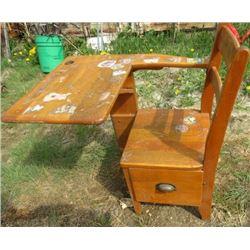 OLD SCHOOL DESK (VINTAGE) *DRAWER UNDER SEAT* (SOLID WOOD)