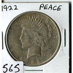 SILVER DOLLAR (USA PEACE) * 1922*