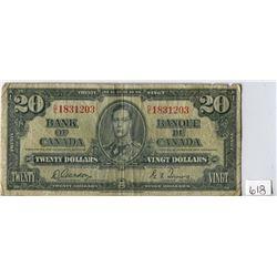 TWENTY DOLLAR NOTE (BANK OF CANADA) *1937*