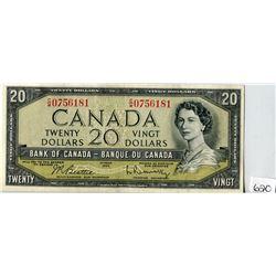 TWENTY DOLLAR NOTE (BANK OF CANADA) *1954*