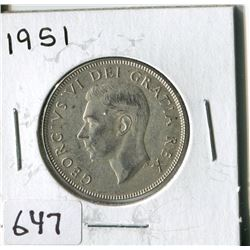 FIFTY CENT COIN ( CANADA) * 1951*
