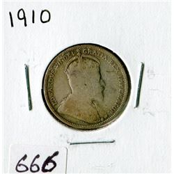 TWENTY FIVE CENT COIN (CANADA)*1910*