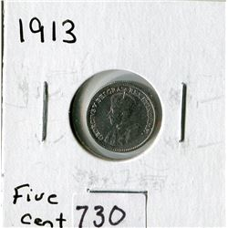 CANADA FIVE CENT COIN (1913)