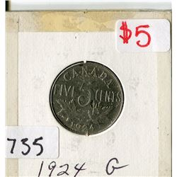 CANADA FIVE CENT COIN (1924)