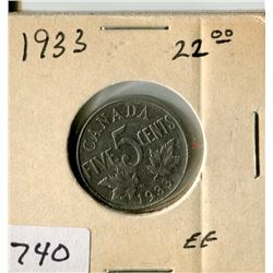 CANADA FIVE CENT COIN (1933)