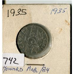 CANADA FIVE CENT COIN (1935)