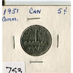 CANADA FIVE CENT COIN (1951)