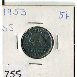CANADA FIVE CENT COIN (1953)