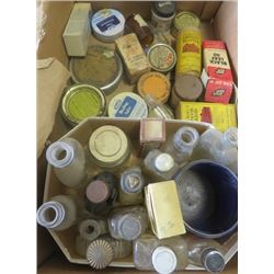 LOT OF GENERAL STORE ITEMS (MINIATURE BOTTLES, TINS, ETC)