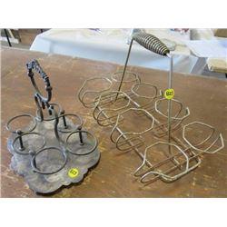 LOT OF 2 ART DECO GLASS HOLDERS (METAL)