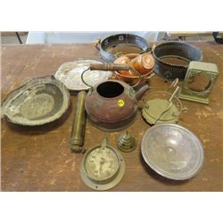 LOT OF COPPER, BRASS AND SOME SILVER ITEMS