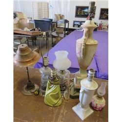 LOT OF ELECTRIC LAMPS (COPPER, GLASS, ETC)