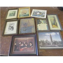 LOT OF 9 PICTURES AND PRINTS