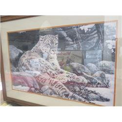"SIGNED SNOW LEOPARD PAINTING (27"" X 39"")"